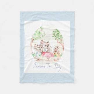 """Raccoon Tea Party"" Fleece Blanket Small LightGrey"
