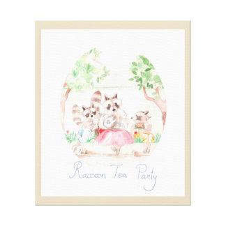 """""""Raccoon Tea Party"""" Kids Canvas Print"""