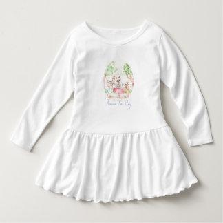 """Raccoon Tea Party"" Toddler Ruffle Dress"