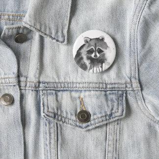 raccoon watercolor 6 cm round badge