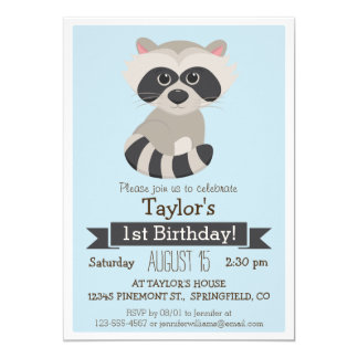 Raccoon, Woodland Animal Kid's Birthday Party 13 Cm X 18 Cm Invitation Card
