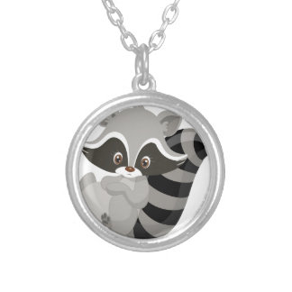 Raccoon woodland silver plated necklace