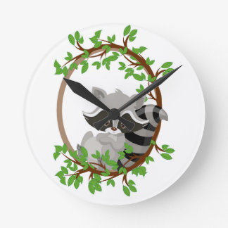 Raccoon WOODLANDCRITTERS Round Clock