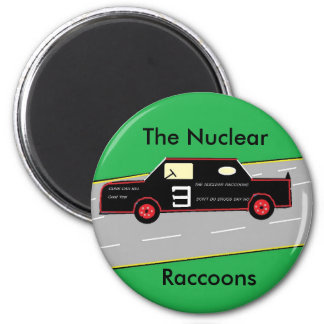 RACCOONS CAR, green, green, The Nuclear, Raccoons 6 Cm Round Magnet
