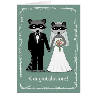 Raccoons Happily Ever After Congratulations Greeting Card