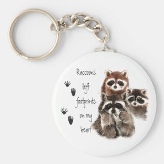 Raccoons left footprints on my Heart Cute animal Basic Round Button Key Ring