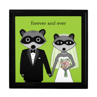 Raccoons Wedding Bride and Groom with Custom Text Gift Box