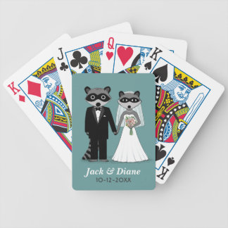 Raccoons Wedding with Custom Text Bicycle Playing Cards