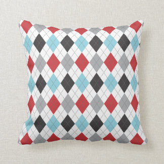 Race Blue Red Argyle Two Pattern Reversible Cushion