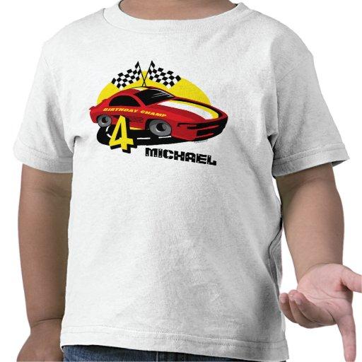 Race Car 4th Birthday Shirt