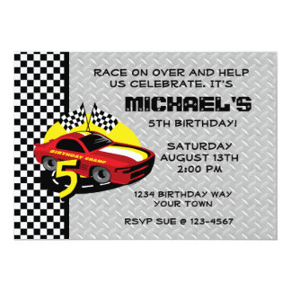 Race Car 5th Birthday Party Invitation