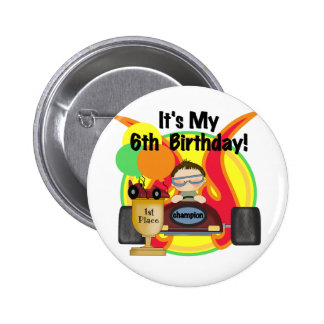 Race Car 6th Birthday Tshirts and Gifts 6 Cm Round Badge