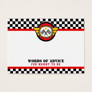Race Car Advice Cards Baby Shower