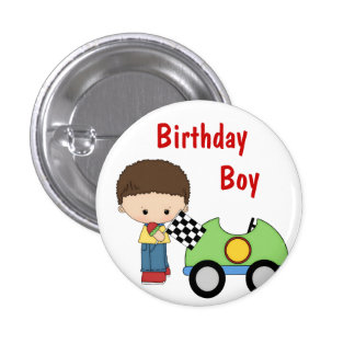 Race Car Birthday Boy Button