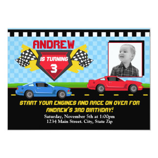 Race Car Birthday Invitation 5x7 Card