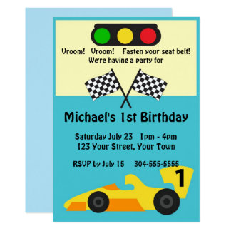 Race Car Birthday Party Card