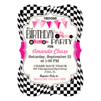 Race Car Birthday Party Invitation Card