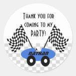 Race Car Birthday Round Sticker
