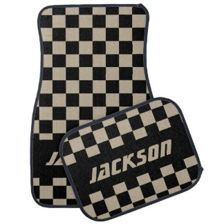 Race Car Checkered Flag Pattern | Black & Camel Floor Mat
