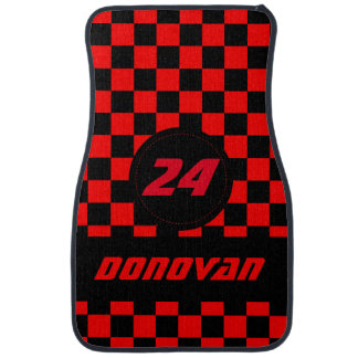 Race Car Checkered Flag Pattern | Black & Red Car Mat