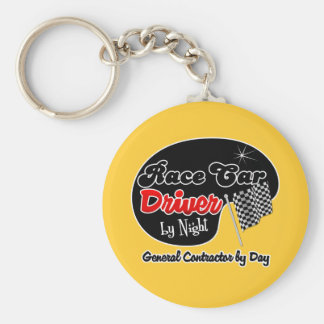 Race Car Driver by Night General Contractor by Day Keychains