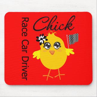 Race Car Driver Chick Mouse Pads