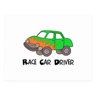 RACE CAR DRIVING POSTCARD