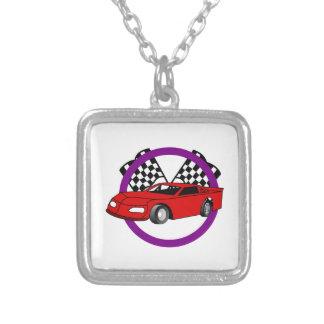 Race Car Logo Square Pendant Necklace