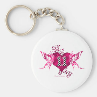 race car number 11 butterfly basic round button key ring