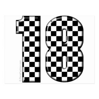 race car number 18 postcard