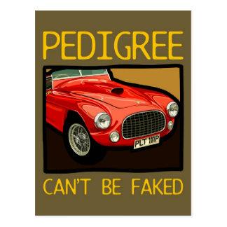 Race car pedigree, red classic sports car postcard