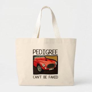 Race car pedigree, red classic sports car jumbo tote bag