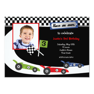 Race Car Photo Birthday Party Invitations