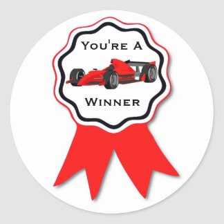 Race Car Red Ribbon Sticker