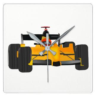race-car square wall clock