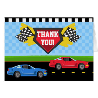 Race Car Thank You Card Folded Note Card