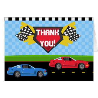 Race Car Thank You Card Folded Note Card