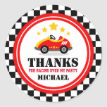 Race Car Thank You Favour Tag Round Sticker