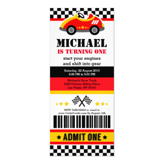 Race Car Ticket Pass Birthday Party Invitation