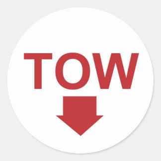 "Race car ""TOW"" Sticker Set with Arrow, White"