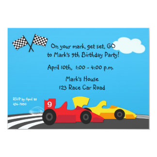 Race Car Track Birthday Invitation