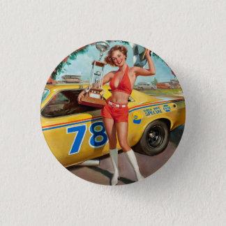 Race car trophy vintage pinup girl 3 cm round badge
