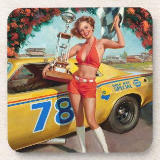 Race car trophy vintage pinup girl coaster