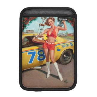 Race car trophy vintage pinup girl iPad mini sleeve