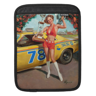 Race car trophy vintage pinup girl iPad sleeve