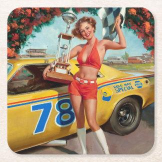 Race car trophy vintage pinup girl square paper coaster