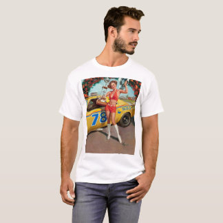 Race car trophy vintage pinup girl T-Shirt