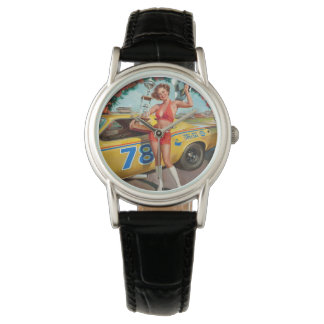 Race car trophy vintage pinup girl watch