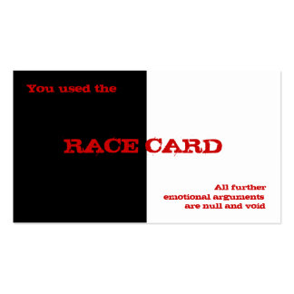 Race Card Pack Of Standard Business Cards