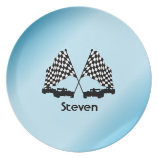 Race Cars and Checker Flag Sports Plate